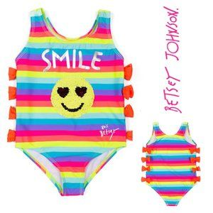 NWT Betsey Johnson Rainbow Stripe 1-Piece Swimsuit